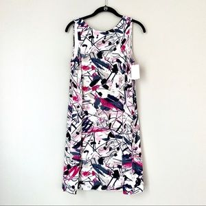 Nic+Zoe Abstract Watercolor Print Jersey Dress